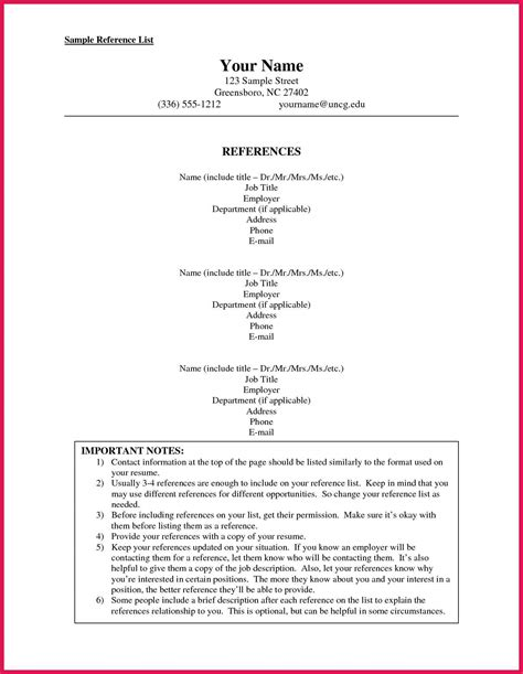 resume format including references how to format a reference list sop exles