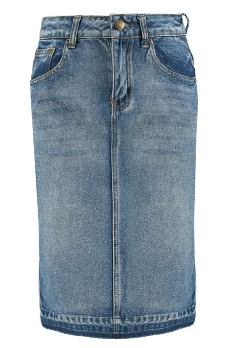 boohoo open hem western style denim skirt in blue