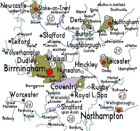 map uk midlands map of the west midlands in useful information