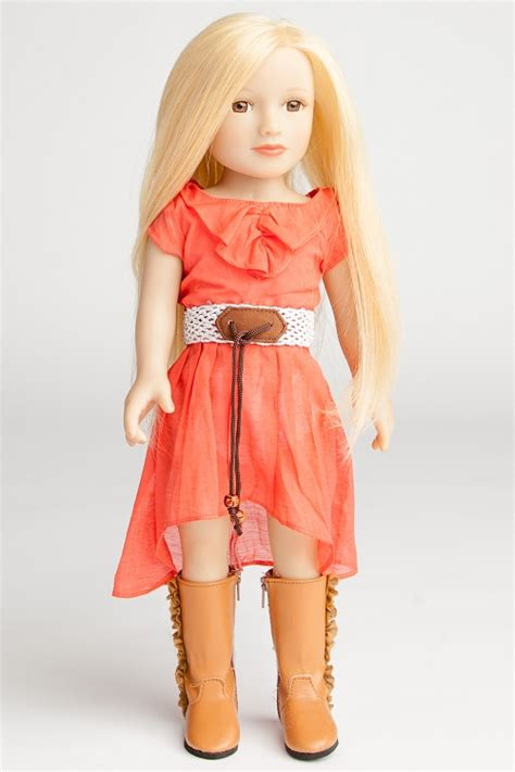 Hair Dresser Doll by Tangerine Colored Dress With Fringed Brown Boots