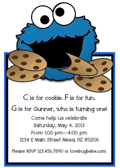 17 Best Images About Cookie Monster Burthday On Pinterest Plain Cake Birthdays And Blue Party Cookie Invitations Templates