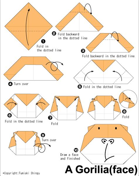 Origami Animals Diagrams - gorilla easy origami for