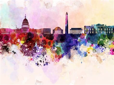 watercolor tattoo washington dc washington dc skyline in watercolor background stock