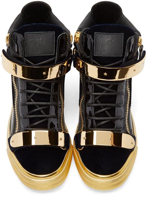 black and gold mens sneakers giuseppe zanotti black gold high top