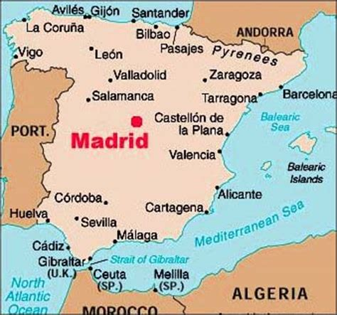 madrid spain on world map object moved