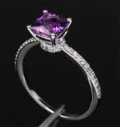 purple wedding rings princess cut purple amethyst 14k white gold pave