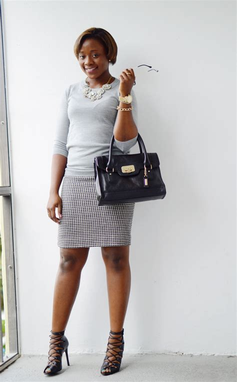 sweater and pencil skirt with statement necklace