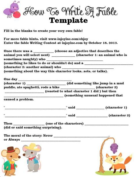 how to writing template fable writing template injoyinc cominjoyinc