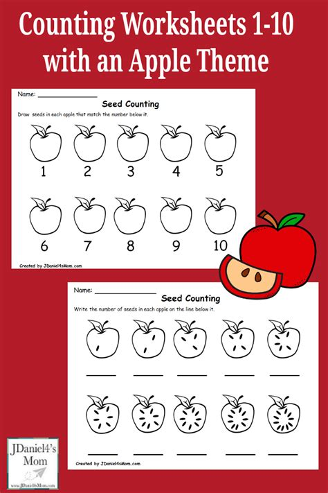 Apple Counting Worksheet by Counting Worksheets 1 10 With An Apple Theme