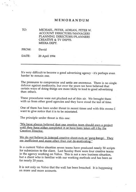 Business Letter Addressing More Than One Person david abbott memo warns of future adland mediocrity