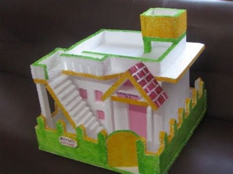 how to make thermocol bungalow house model school project another thermocol house for school project youtube