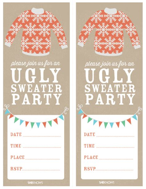 printable ugly christmas sweater ugly sweater party ugliest christmas sweaters party