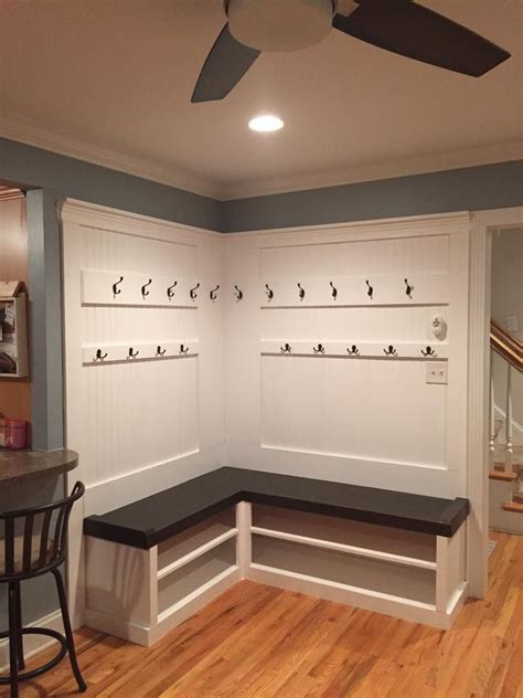 corner mudroom bench diy l shape flat back mudlocker mudroom entranceway bench