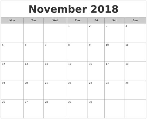 Calendar 2018 Nov November 2018 Free Monthly Calendar