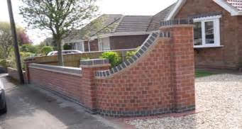 Garden Brick Wall Ideas Front Wall Design Curved With Grey Coping Stones Garden
