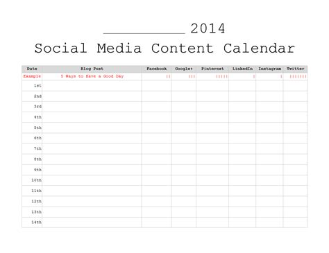 social media planner template 3 free monthly content marketing calendars printable