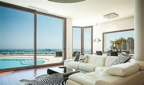 sea view living room designer villa for sale in benidorm with fantastic sea views