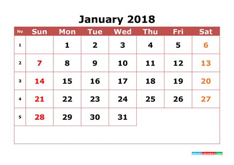 printable monthly calendar numbers january 2018 calendar printable with week numbers image