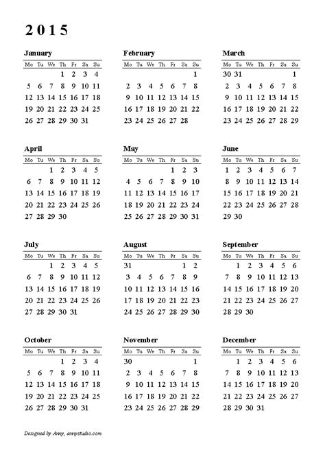 printable monthly calendar 2015 starts on monday calendar 2015 weeks start on monday black and white