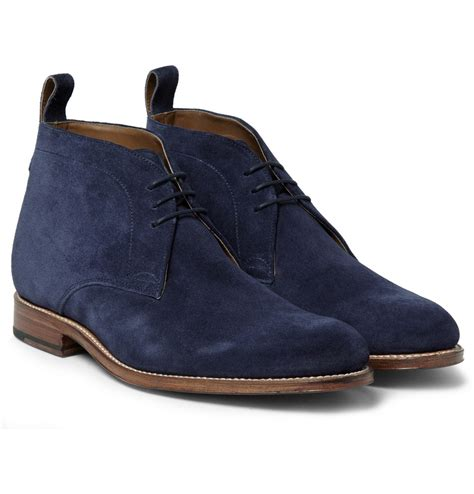 foot the coacher suede chukka boots in blue for