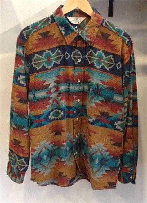 tribal pattern button up shirt vintage aztec men s flannel button down shirt lpm new