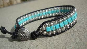 Handmade Mens Leather Cuff Bracelets - s silver and turquoise beaded wrap black leather