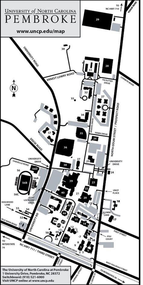 Of Carolina Pembroke Mba by Cus Map Unc Pembroke Acalog Acms