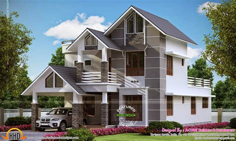 kerala sloped roof home design modern sober coloured sloping roof house kerala home