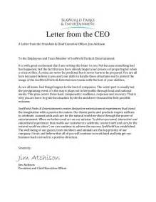 Letter Of Appreciation To Employees From Ceo Sea World Crisis Communication Plan