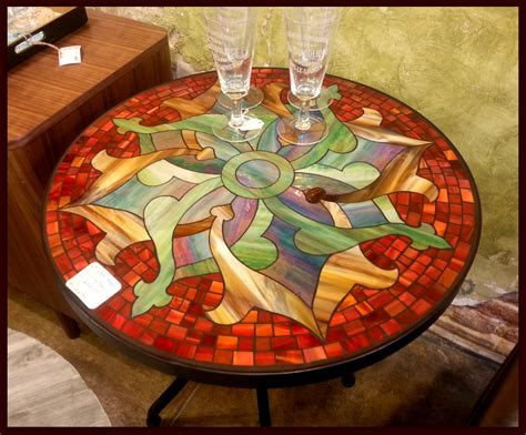 round mosaic pattern ideas tile and glass mosaic tables