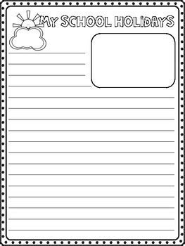 My School Holidays Writing Template by Miss A Nguyen