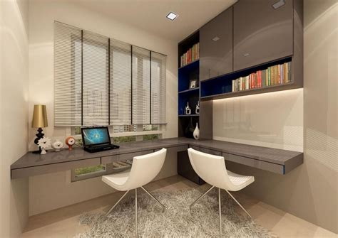 Minimalist L Shaped Desk modern bedroom interior design with gray glossy study
