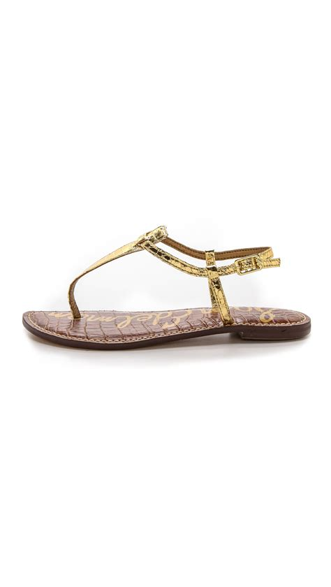 t sandals flat sam edelman gigi t flat sandals gold in gold lyst