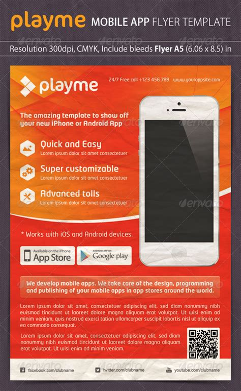design flyer app playme app promotion flyer graphicriver