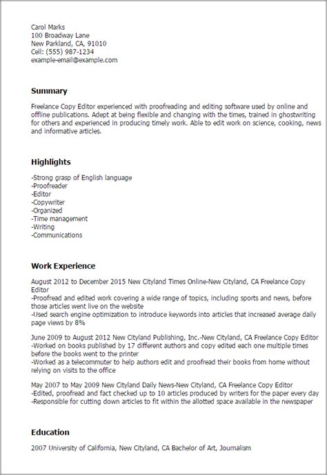 freelance copy editor resume examples pictures hd aliciafinnnoack