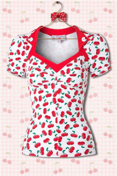 50s elyse cherry top in white