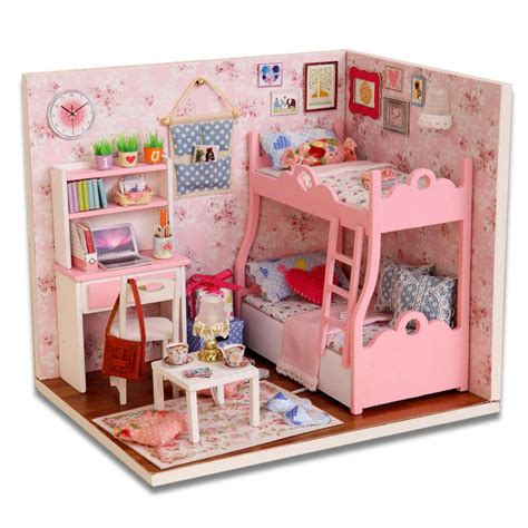 doll house rooms aliexpress com buy diy wood dollhouse miniature with led furniture cover mini pink