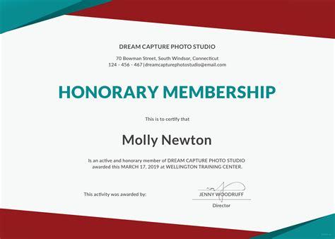 honorary member certificate template free honorary membership certificate template in microsoft