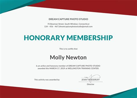 Free Membership Card Template Word by Free Honorary Membership Certificate Template In Microsoft