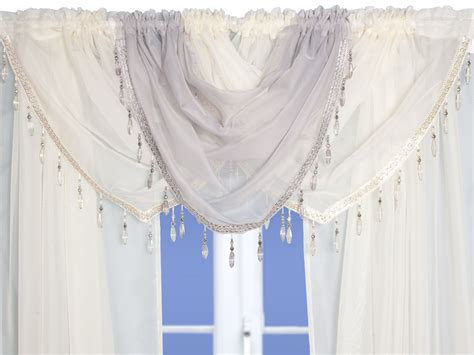 curtain swags uk cream beaded voile swags and tails nets and curtains