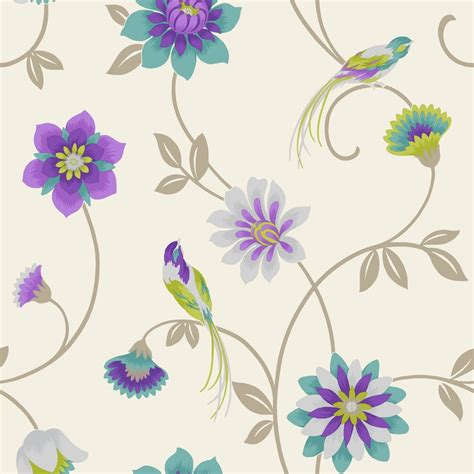wallpapers for bedrooms walls purple and cream bedroom buy fine decor eden bird wallpaper cream purple teal