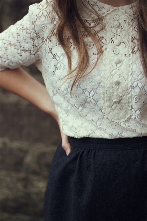White Lace Skirt And Blouse by Blouse Lace Buttons Pan Collar Vintage White