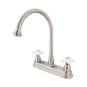 chicago kitchen faucets shop elements of design chicago satin nickel 2 handle high arc kitchen faucet at lowes com