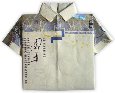 T Shirt Dollar Origami - money origami shirt folding