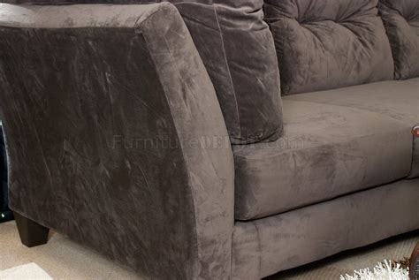 brown suede sectional couch mocha brown suede fabric modern 3pc sectional sofa