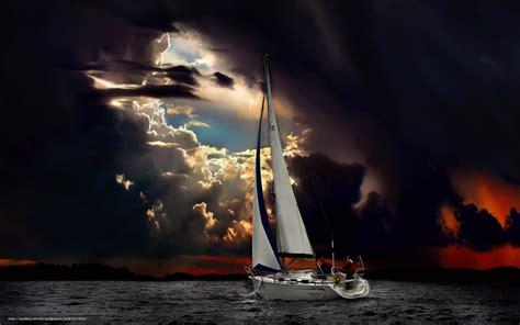 download wallpaper landscape sailboat storm sea free - Sailboat In Storm