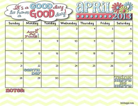 April 2013 Calendar April2013 Free Printable Calendar From Inkhappi Inkhappi