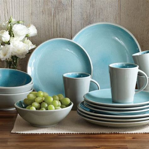 better homes and gardens 16 dinnerware set aqua