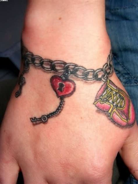 chain wrist tattoos lock ankle bracelet