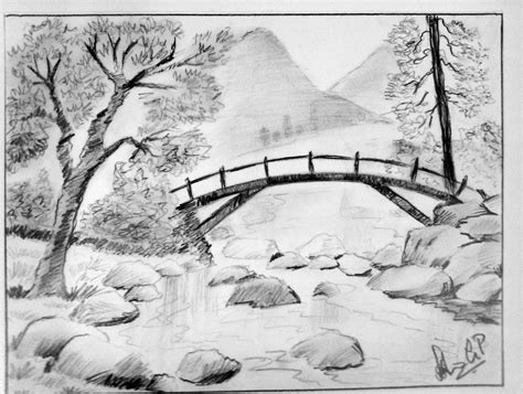 easy drawing picture by pencil of landscape drawing of